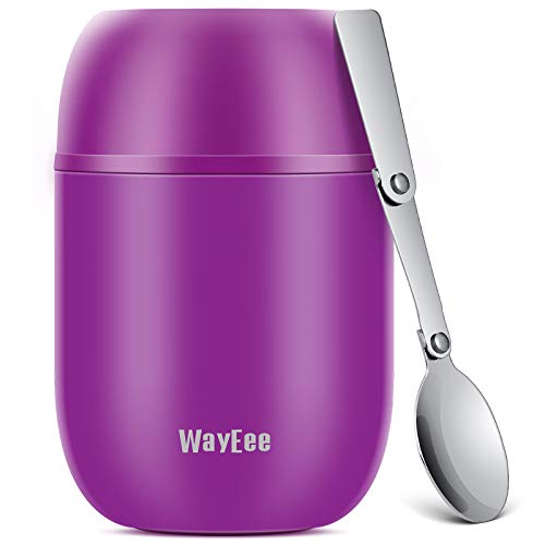 Picture of WayEee Food Flask, Stainless Steel King Food Jar with Folding Spoon-450ml (Purple)