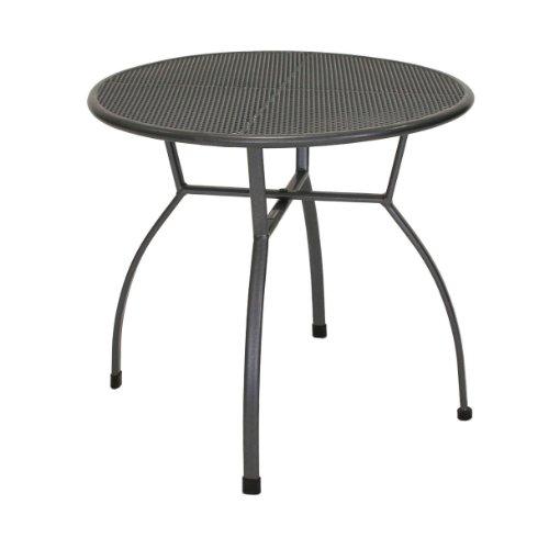 greemotion 416396 Tavolo Tavolino Toulouse Tondo da Giardino in Metallo, Diametro 80 cm, Grigio, 70x70x74 cm