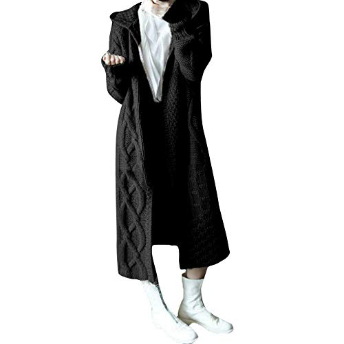 YEBIRAL Strickjacke Damen Lange Cardigan Grobstrick mit Kapuze Zopfmuster grau schwarz Khaki Outwear Langarm für Herbst Winter Gestrickt Winterjacke