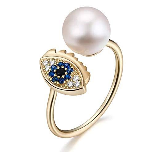 DJSK Echte Natürliche Süßwasser Perle Fingerringe 925 Sterling Silber Evil of Eye Offenen Ring Für Frauen Männer Vintage Ring
