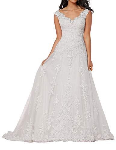 HUINI Damen Brautkleid Lang Spitzen Hochzeitskleider A-Linie Ärmellos Brautmode Vintage V-Ausschnitt Standesamtkleider Weiß 54