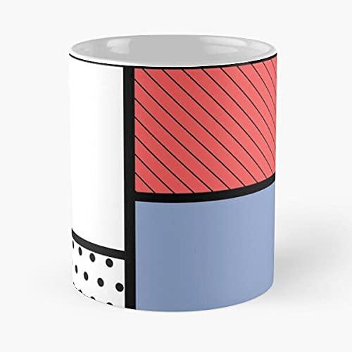 Dot Pop Square Clip S Mondrian Modern Red Pattern Art – Taza de café de cerámica de mármol blanco I