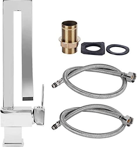 HAINING Grifo de Cascada de Rosca G1 / 2, Mezclador de Agua fría y Caliente de Cobre Moderno, Grifo de Lavabo de baño de un Solo Orificio para Fregadero de Cocina de baño