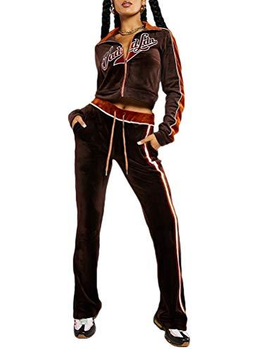 Onsoyours Damen Freizeitanzug Sportanzug Jogginganzug Sportjacke Jacke Mit Reißverschluss Sporthose Hose Mit Tunnelzug A Braun XS