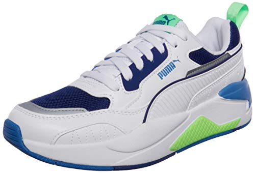 PUMA X-Ray 2 Square Sneaker Unisex Adulti, Bianco (Puma Bianco Puma Elektro Verde Elektro Blu), 42.5 EU