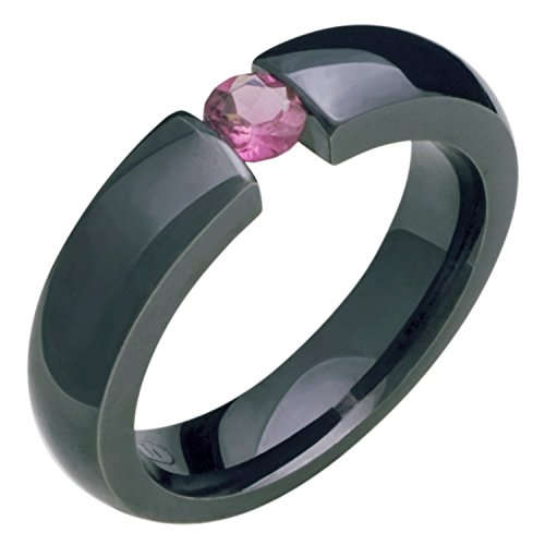 Alain Raphael Black Titanium and Pink Tourmaline Gemstones Tension Set Ring 5mm Wide Comfort Fit Wedding Band Black Titanium Tension Rings