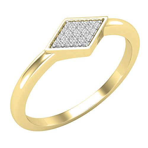 Dazzlingrock Collection Anillo de compromiso de 0,05 quilates con diamante blanco cultivado en laboratorio redondo para mujer, disponible en metal de oro de 10 K/14 K/18 K y plata de ley 925.