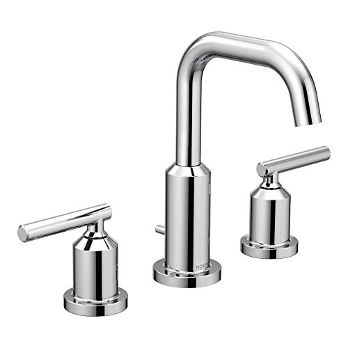 Moen T6142 Gibson Two-Handle 8-Inch Widespread High Arc Modern Bathroom Sink Faucet, Valve Required, Chrome