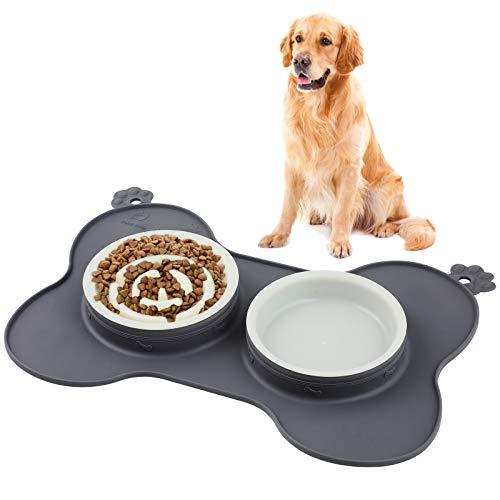 WD&CD Ciotola Mangiare Lento per Cani e Gatti, [2X500ml] Ciotola Doppia per Cani con Tappetino in Silicone Antigoccia Pieghevole, Favorisce Un'alimentazione Sana e Una Digestione Lenta - Grigio