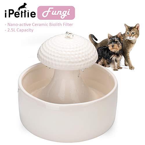 iPettie Trinkbrunnen Keramik für Katzen Hunde Haustier Automatisch Wasserbrunnen mit Kohlefilter 2,5L Katzenbrunnen Wasserspender Brunnen Katze Keramik Filter Pet Fountain (Pilz)