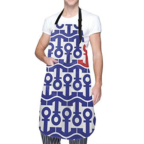 Delantal de Cocina Impermeable con Bolsillos,Motivo de anclas marinas Viaje en barco Mar Océano,Ajustable Delantales Hombre Mujer Mandil Cocina para Jardinería Restaurante Barbacoa Cocinar Hornear