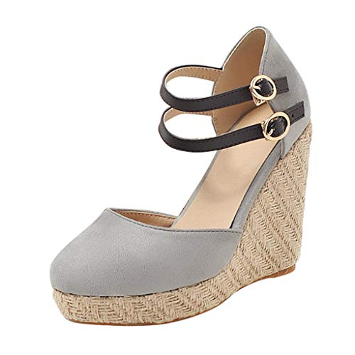 Dorical Damen Espadrilles,Basic Closed Toe Geschlossene Sandalen mit Keilabsatz Double Schnalle für Mutter 35-43 EU(Grau,40 EU)