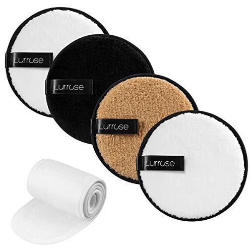 Lurrose 4PCS Almohadillas desmaquilladoras reutilizables de limpieza facial Almohadillas desmaquillantes Hairband con...