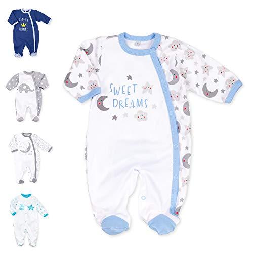 Baby Sweets Baby Strampler für Jungen/Baby-Overall in Weiß Grau Hellblau als Schlafanzug und Babystrampler im Sonne Mond Sterne-Motiv für Neugeborene und Kleinkinder in der Größe: 6 Monate (68)