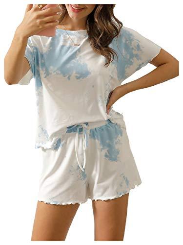 Ever-Pretty Damen Sommer Beiläufig Tie-Dye Kurze Hose Schlafanzüge Loungewear Nachtwäsche Set Blau 4XL