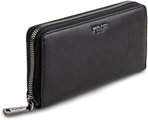 Berliner Bags Premium Geldbörse Lyon mit RFID Schutz für Damen Portemonnaie Ledergeldbörse mit Reißverschluss aus Leder schwarz