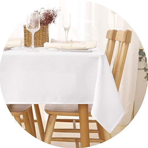 Deconovo Tischdecke Wasserabweisend Tischwäsche Lotuseffekt Tischtuch Leinenoptik 140x300 cm Weiß