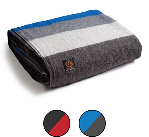 Arcturus Mt. Rainier Wool Blanket - Over 4 Pounds Warm, Heavy, Washable, Large | Great for Camping, Outdoors, Survival & Emergency Kits (White Blue Gray)