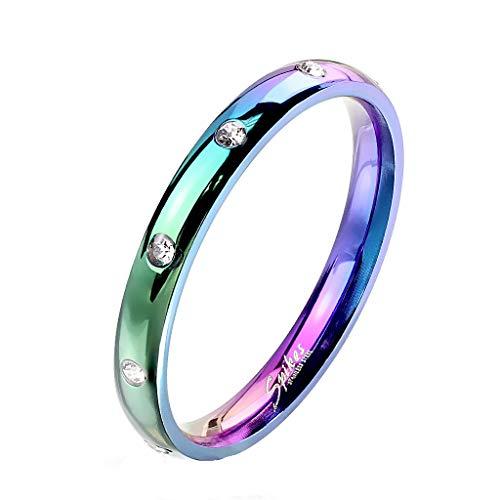 Paula & Fritz® Damen-Ring glänzend 3mm Zirkonia Silber Gelb-Gold Rosé-Gold Bunt Freundschafts-Ring Partner-Ring Edelstahl 316L R-M6822W_90