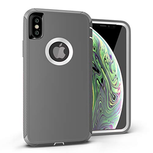 iPhone Xs Case, Viero Defender iPhone X Case Heavy Duty Rugged Impact Resistant Full Protective Armor Military Protection Belt Clip Holster Kickstand Protector Case Cover for iPhone 10- Gray/White -  ipx-def-gry-wht