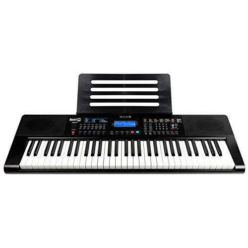 RockJam RJ461AX Teclado de piano digital portátil Alexa de 61 teclas con soporte de música, fuente de alimentación, aplicación para piano Simply y teclas de notas, con Alexa integrada