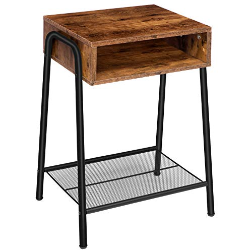 HOOBRO Nightstand, Industrial Side Table, End Table with Open Compartment and Mesh Shelf, Small Coffee Table, Easy Assembly, Space Saving, Bedroom, Living Room, Kitchen, Rustic Brown EBF75BZ01