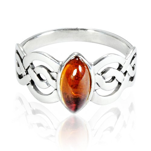 925 Sterling Silver Genuine Honey Amber Celtic Double Infinity Knot Band Ring - Nickle Free Size 9