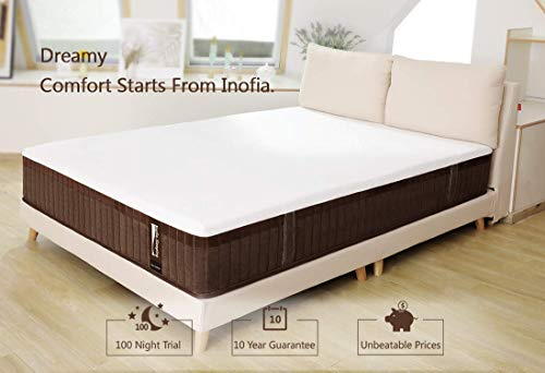 Inofia Queen Mattress,11.4 Inch Hybrid Memory Foam Mattress in a Box, Firm Feel Mattress Queen Size, Pocket Innersprings for Motion Isolation, Supportive & Pressure Relief, 100 Free Nights Trial