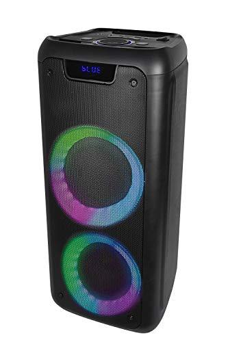Bluetooth-Lautsprecher Denver BPS-350, Größe 6,5 Zoll, wiederaufladbarer Akku 3000 mAh, LED-Leuchten, Lautstärke 25 W, USB, AUX, Dual-MicroSD-Eingang, FM-Radio.