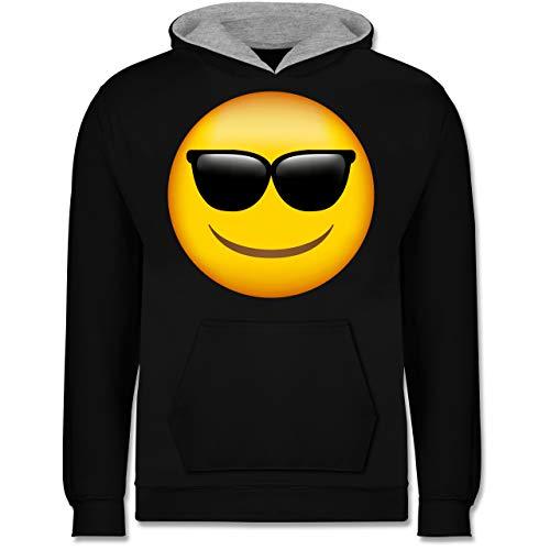 Shirtracer Anlässe Kinder - Emoticon Sonnenbrille - 152 (12/13 Jahre) - Schwarz/Grau meliert - Verkleidung Kostüm - JH003K - Kinder Kontrast Hoodie