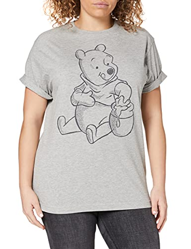 Disney Damen Winnie The Pooh-Sketch T-Shirt, Grau (Grey Marl SPO), 40 (Herstellergröße: Large)
