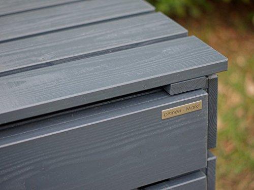 1er Mülltonnenbox 120 L Holz, Deckend Geölt Anthrazit Grau - 4