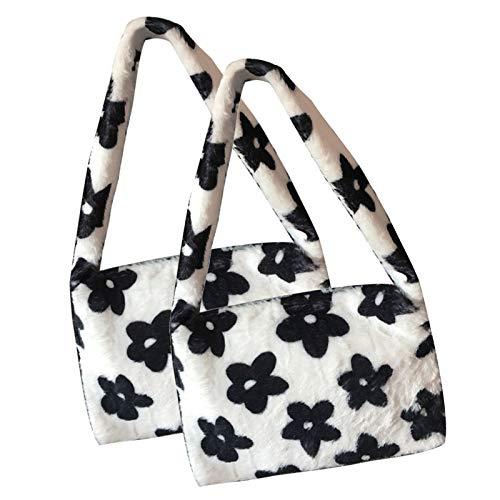 Furry Handbag, Plush Soft Casual Fluffy Female Handbag, Shoulder Tote Bag with Zip, Furry Handbag Girls, Flower print plush handbag (2PCS)