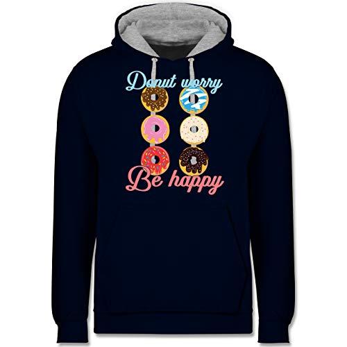 Shirtracer Sprüche - Donut Worry be Happy blau/rosa - 5XL - Navy Blau/Grau meliert - Statement - JH003 - Hoodie zweifarbig und Kapuzenpullover für Herren und Damen