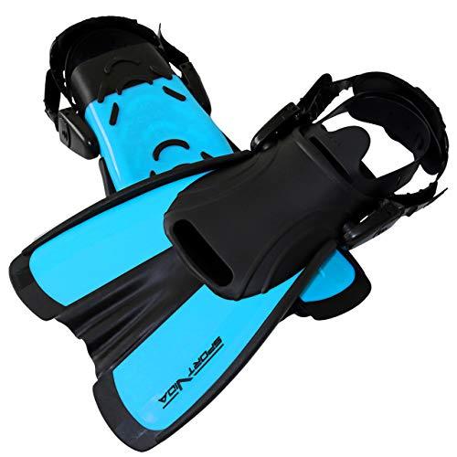 SportVida Schwimmflossen für Jugendliche Erwachsene | Kurz Schnorchelflossen | Taucherflossen in Größen 29-43 SV-DN0007 (Blau, M 34-38)