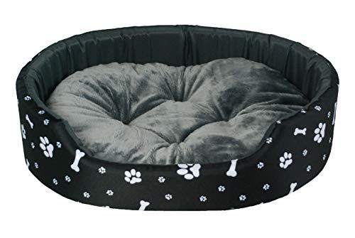 BedDog Hundebett Hundekissen Hundesofa Schlafplatz Katzenbett ((L) 69x57x16cm / Liegefläche 63x51cm, Schwarz-weiß)