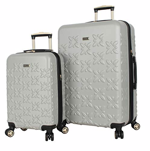 BCBGeneration BCBG Butterfly Designer Luggage Collection - Expandable 2 Piece Hardside Lightweight Spinner Suitcase Set - Travel Set includes 20-Inch Carry On and 28-Inch Checked Bag (Grey)