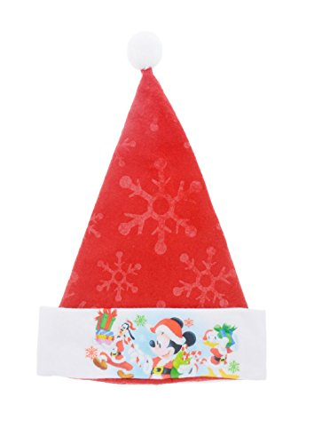 Christmas House Disney Mickey & Minnie Mouse Festive Felt Santa Hats with Embossed Designs (Mickey)