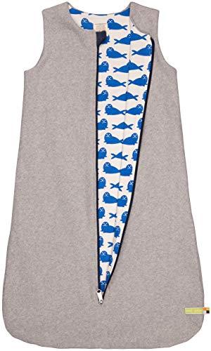 loud + proud Baby-Unisex Wendeschlafsack Fleece Aus Bio Baumwolle, GOTS Zertifiziert Schlafsack, Grau (Grey Gr), 92 (Herstellergröße: 86/92)