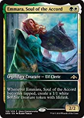 Name: Emmara, Soul of the Accord Set: Promo A single individual card from the Magic: the Gathering (MTG) trading and collectible card game (TCG/CCG).