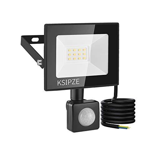 KSIPZE 10W LED Strahler LED Aussenleuchte Mit Bewegungsmelder Aussen 860LM 6000K Kaltweiß Superhell IP65 Wasserdicht strahler außen LED Scheinwerfer