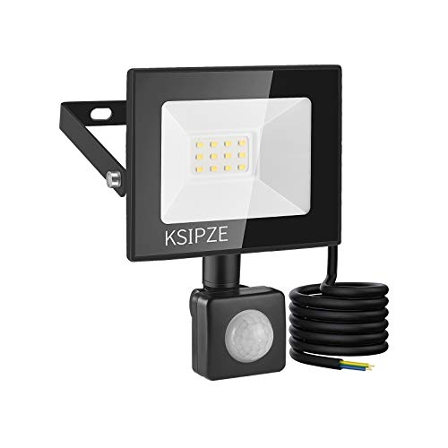 KSIPZE 10W LED Strahler LED Aussenleuchte Mit Bewegungsmelder Aussen 860LM 6000K Kaltweiß Superhell IP65 Wasserdicht strahler LED Scheinwerfer