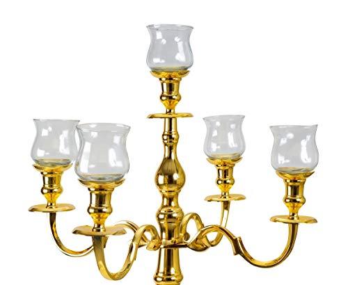 Geschenkestadl 5 Stück Glasaufsatz für Kerzenständer groß Kerzenleuchter Aufsatz Windlicht