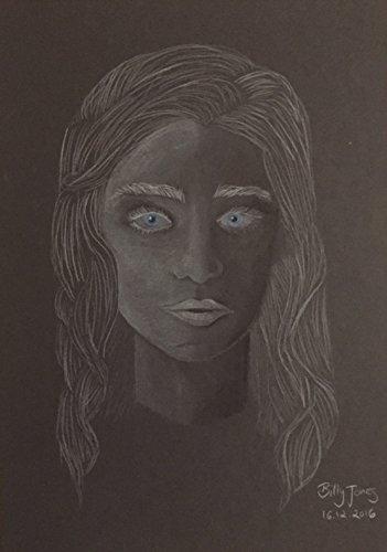 Zeichnung in schwarz weiß von Daenerys Targaryen aus der Serie Game of Thrones auf Tonpapier
