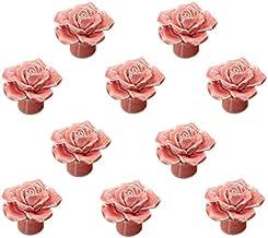 Rose bloem keramische deurklink AOOF dressoir keukenkast lade handvat 10 stuks, wit (roze)