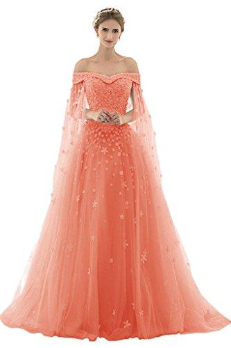 AZNA Damen Prinzessin Spitze Abendkleider Ballkleid Partykleid Hochzeitskleider Lang mit Schleppe Koralle 32
