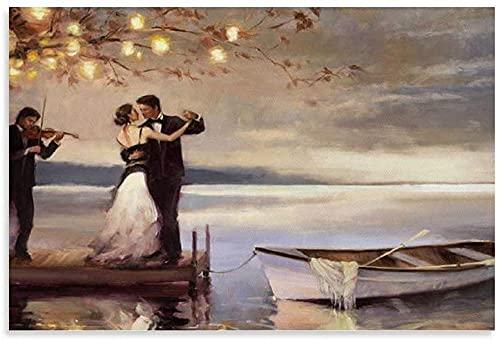 ZHANGFAN Twilight Romance Lienzo Arte Cartel y Muro Arte Imagen Imprimir Moderno Dormitorio Familia Decoración Pósteres 12x18 Pulgadas (30x45cm) No Framd