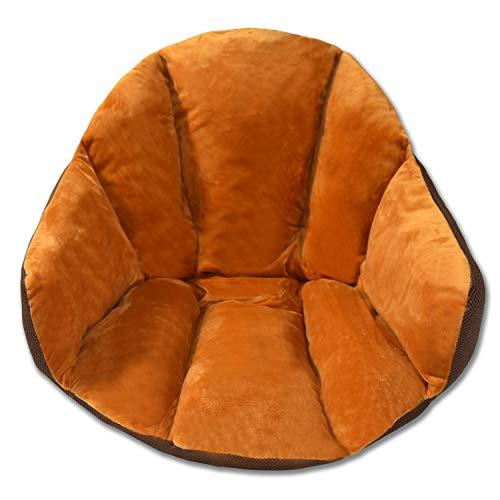 Hughapy Chair Cushions Desk Seat Cushion Warm Comfort Velvet Seat Cushion Pad for Support Waist Backrest, Winter Plush Cushion for Home Office Chair, Car Seat (Velvet  24Wx16Lx16H, Orange)
