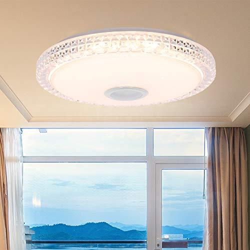 Musik Deckenleuchte LED Deckenleuchte mit Bluetooth-Lautsprecher Smart APP und Fernbedienung RGB Farbwechsel, 36W dimmbare moderne Unterputz-Deckenleuchte für Wohnzimmer, Schlafzimmer, Esszimmer