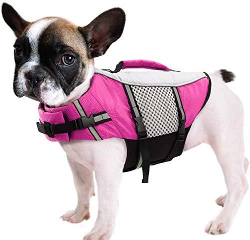 FR&RF Chaleco salvavidas para perro, ligero, alto reflectante, salvavidas para mascotas, con asa elevadora, anillo para natación, surf, barco, caza, rosa, XXL